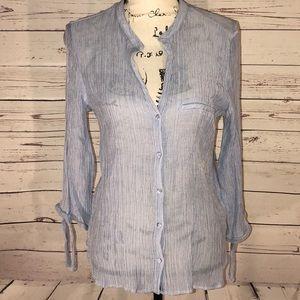 Zara Basic Blue Button Up Shirt Size XL